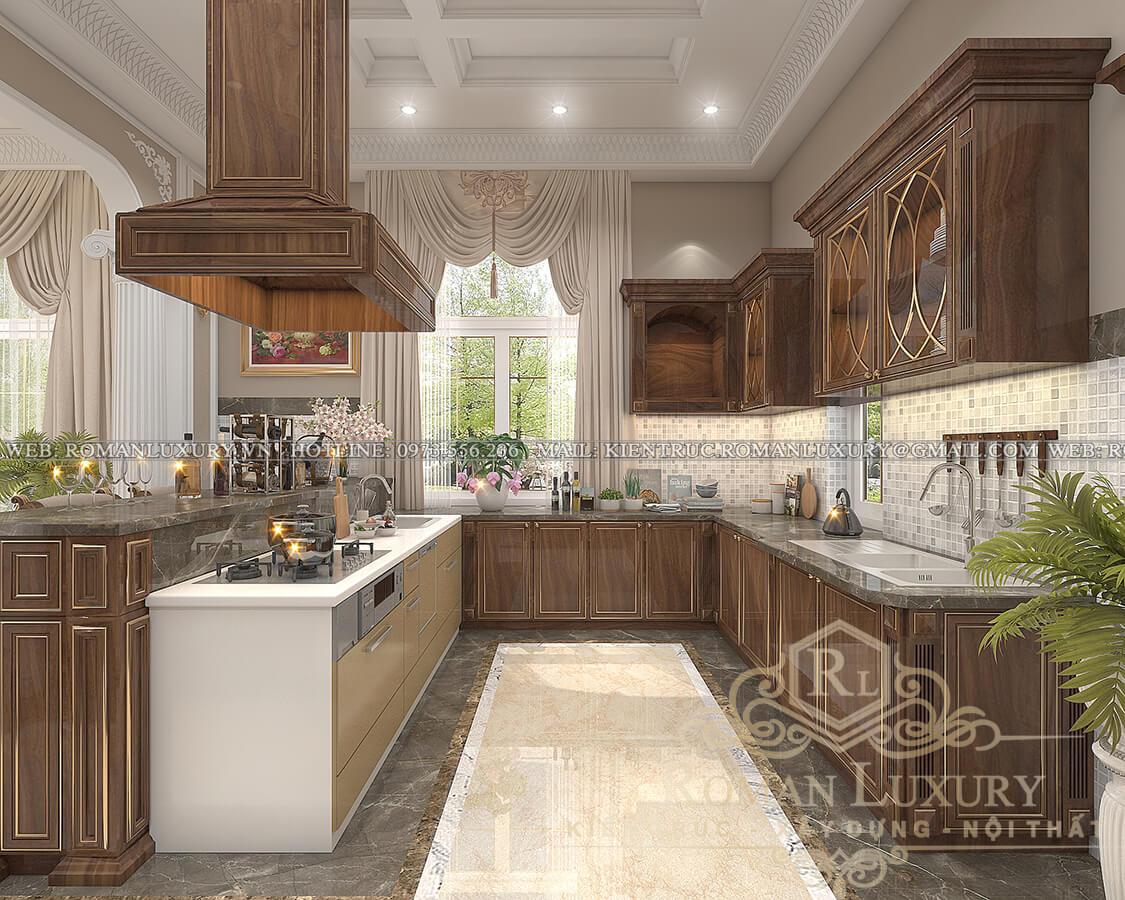 phòng bếp biệt thự 3 tầng kiểu châu âu
