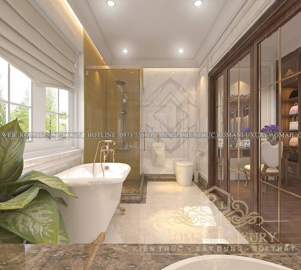 phòng tắm biệt thự 3 tầng kiểu châu âu
