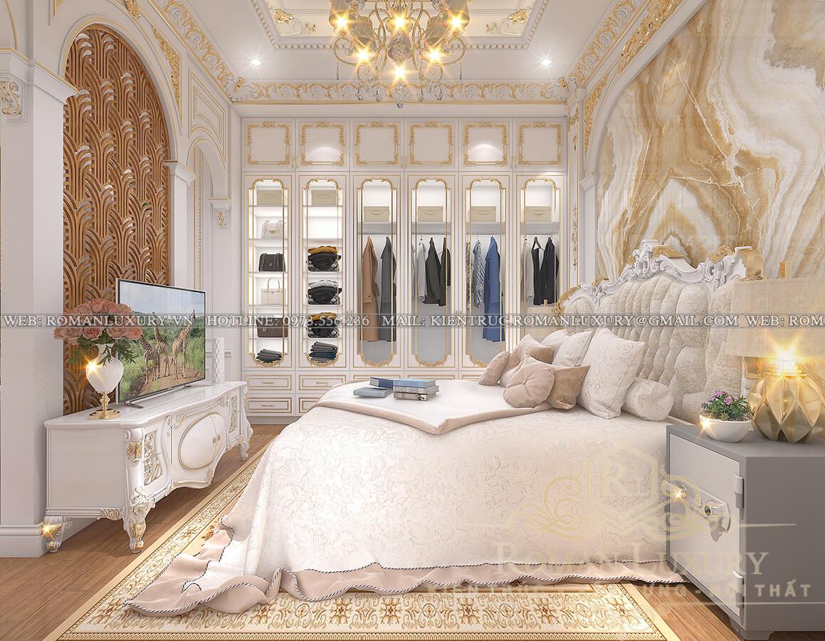 phòng ngủ master biệt thự cổ điển pháp