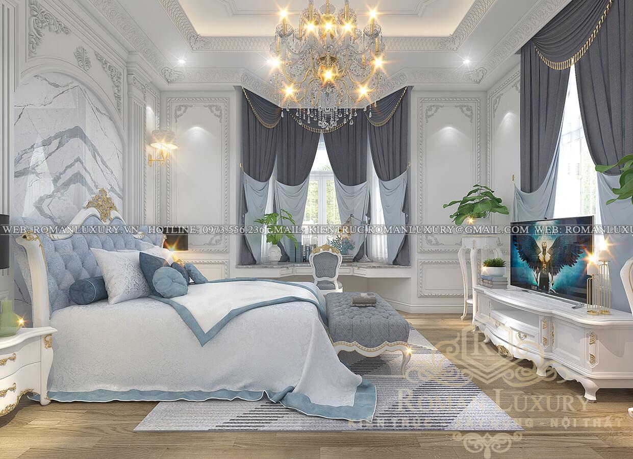 phòng ngủ biệt thự cổ điển pháp