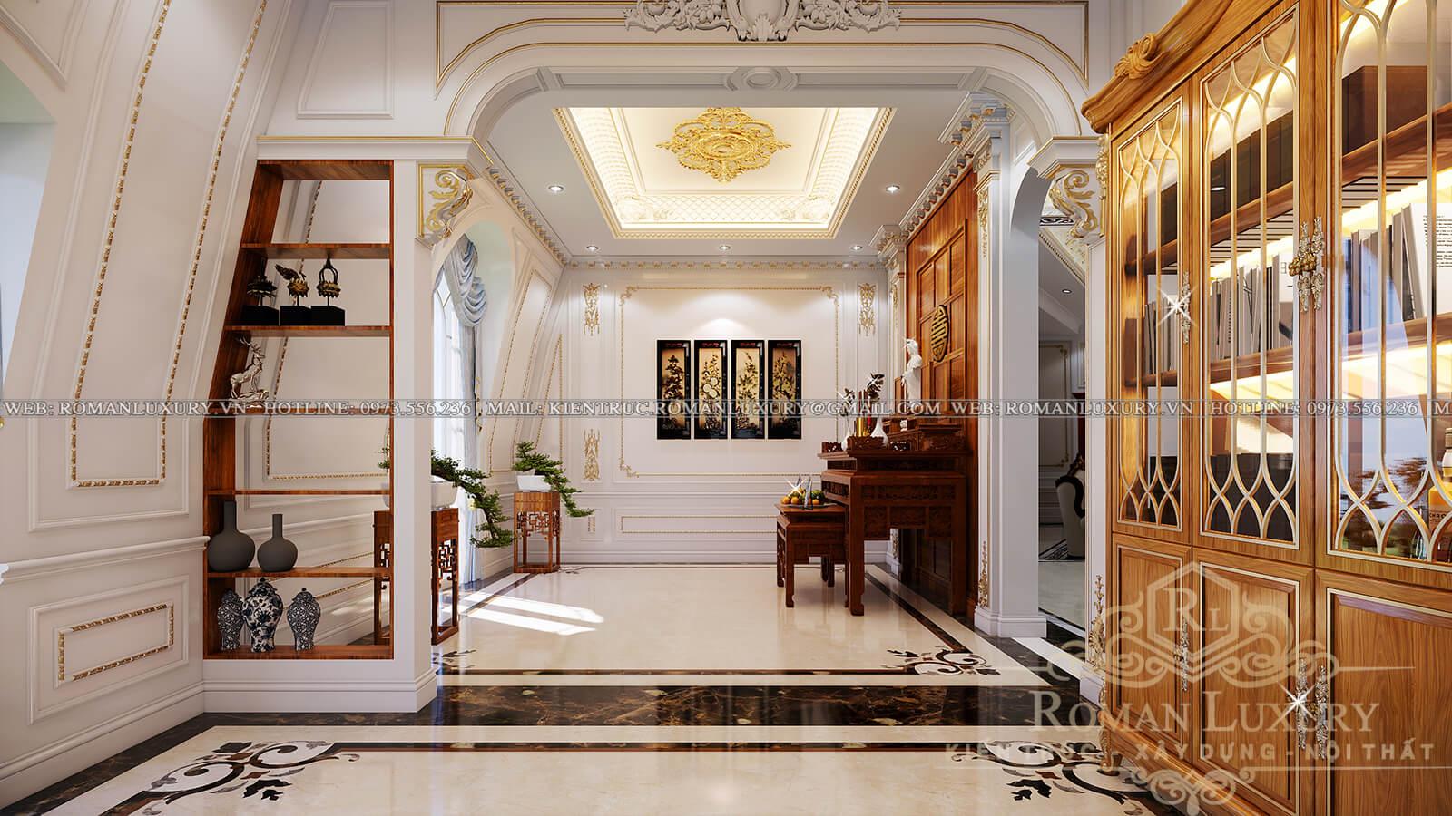 phòng thờ biệt thự cổ điển pháp