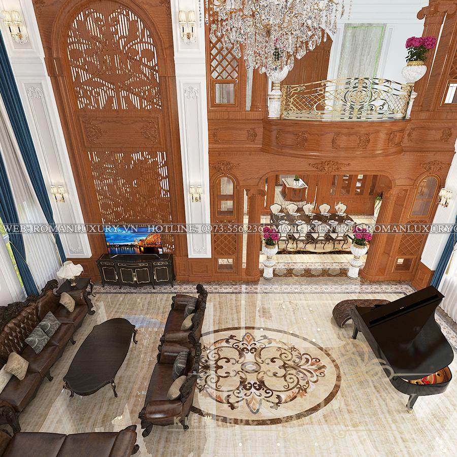phòng khách biệt thự phong cách châu âu