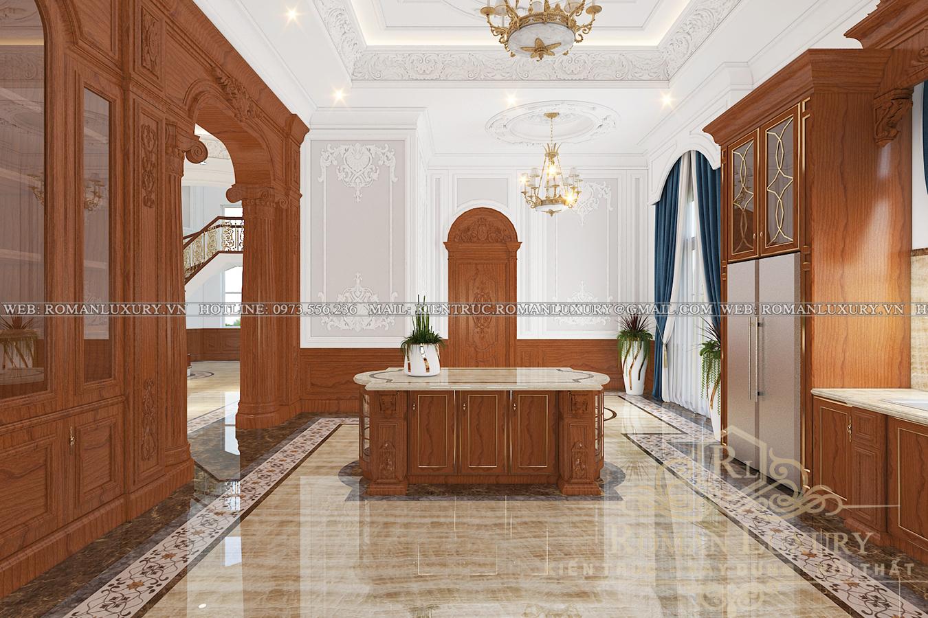 phòng ăn biệt thự phong cách châu âu