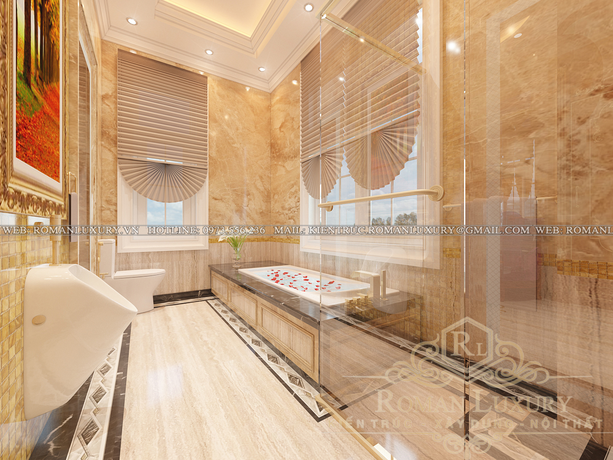 phòng tắm biệt thự phong cách châu âu