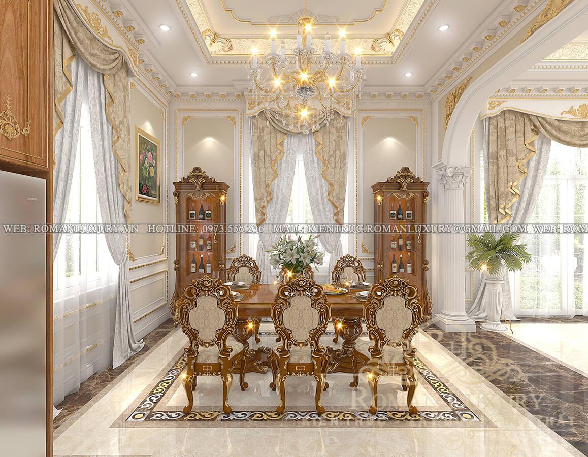 phòng bếp biệt thự kiến trúc tân cổ điển