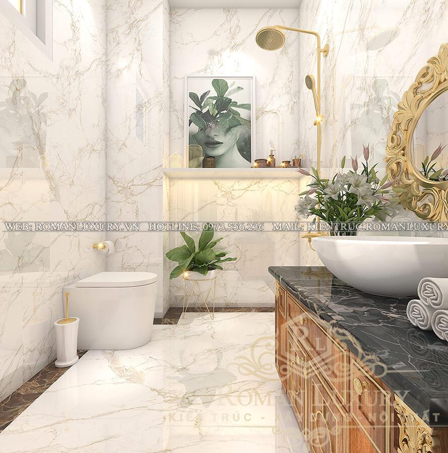 phòng tắm biệt thự kiến trúc tân cổ điển
