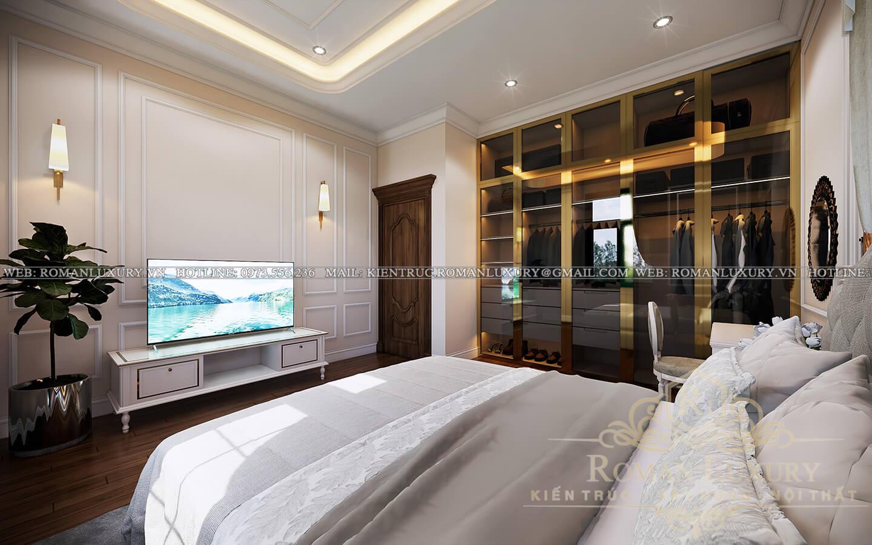 phòng ngủ ông bà biệt thự kiến trúc tân cổ điển