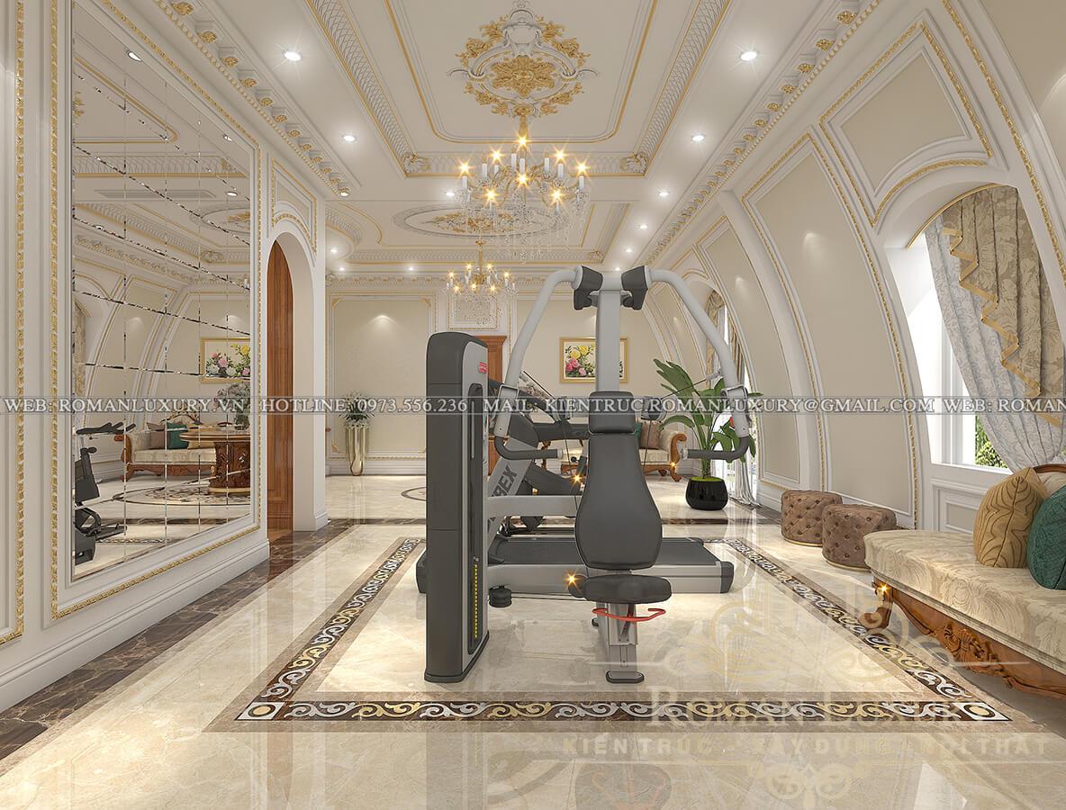 sảnh thang biệt thự kiến trúc tân cổ điển