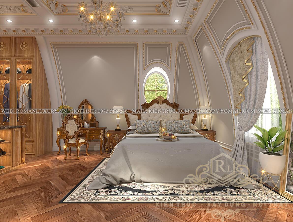 phòng ngủ master biệt thự kiến trúc tân cổ điển