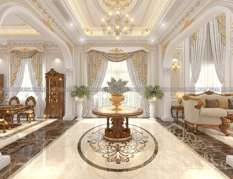 phòng khách mặt tiền biệt thự kiến trúc tân cổ điển