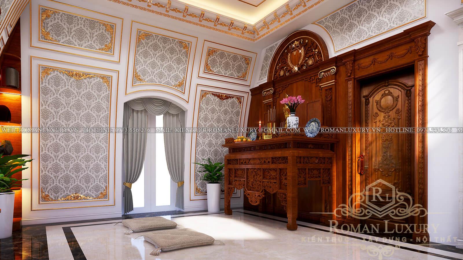 phòng thờ mẫu biệt thự cổ điển đẹp