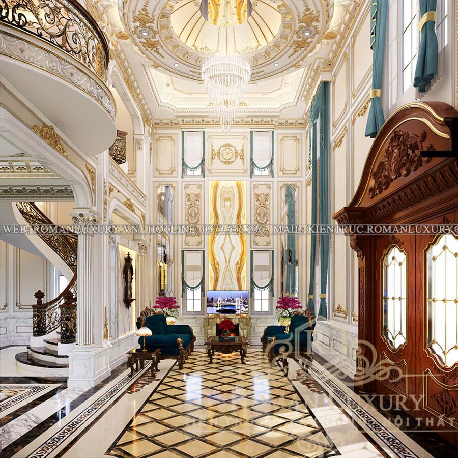 sảnh mẫu biệt thự cổ điển đẹp