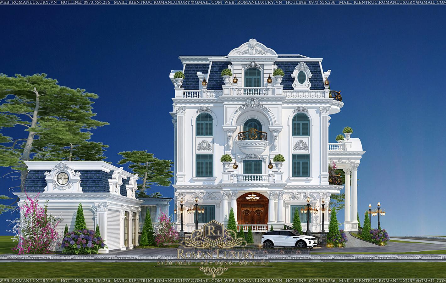 mặt tiền biệt thự cổ điển 4 tầng 4