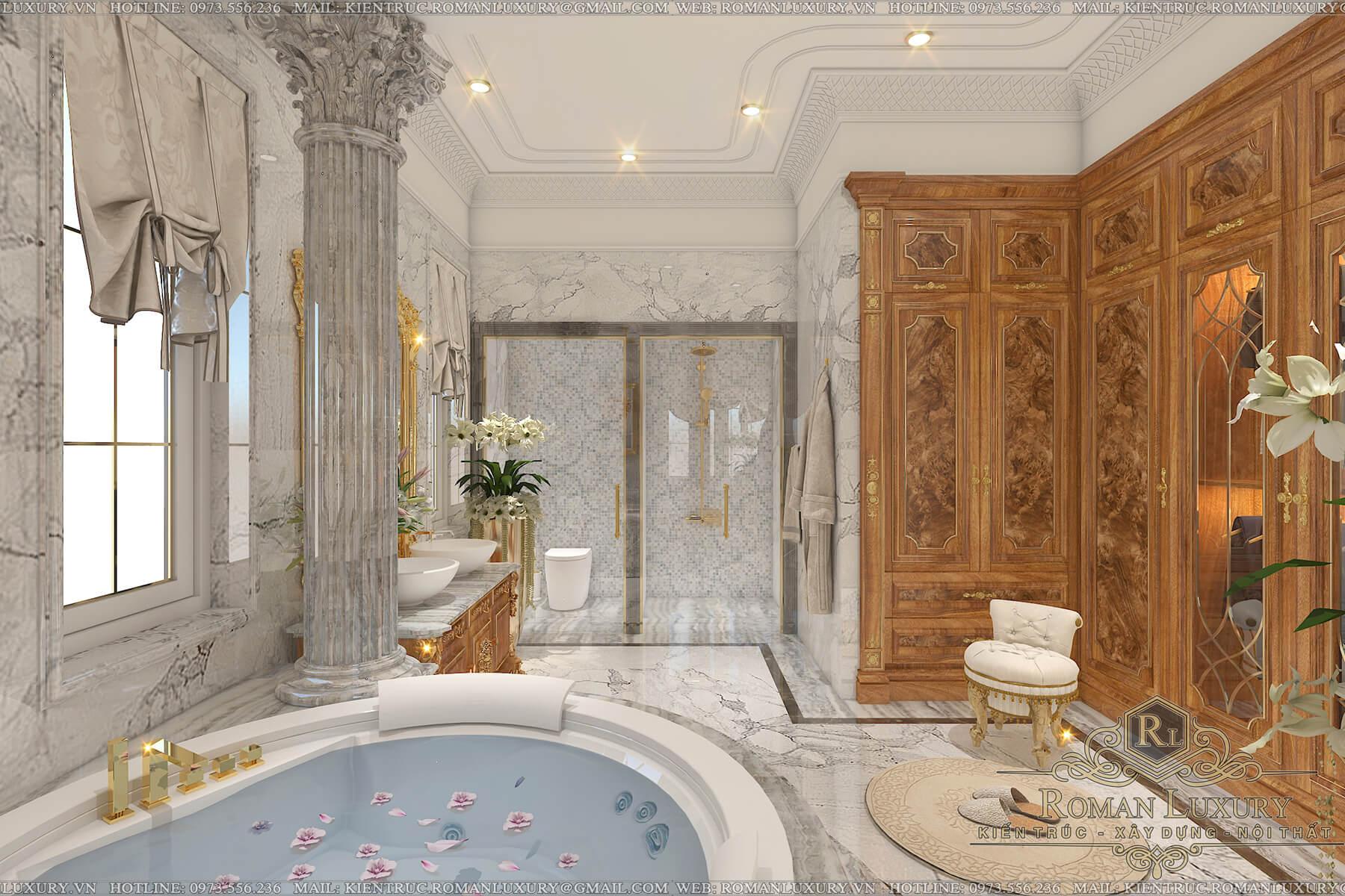 phòng tắm biệt thự tân cổ điển châu âu