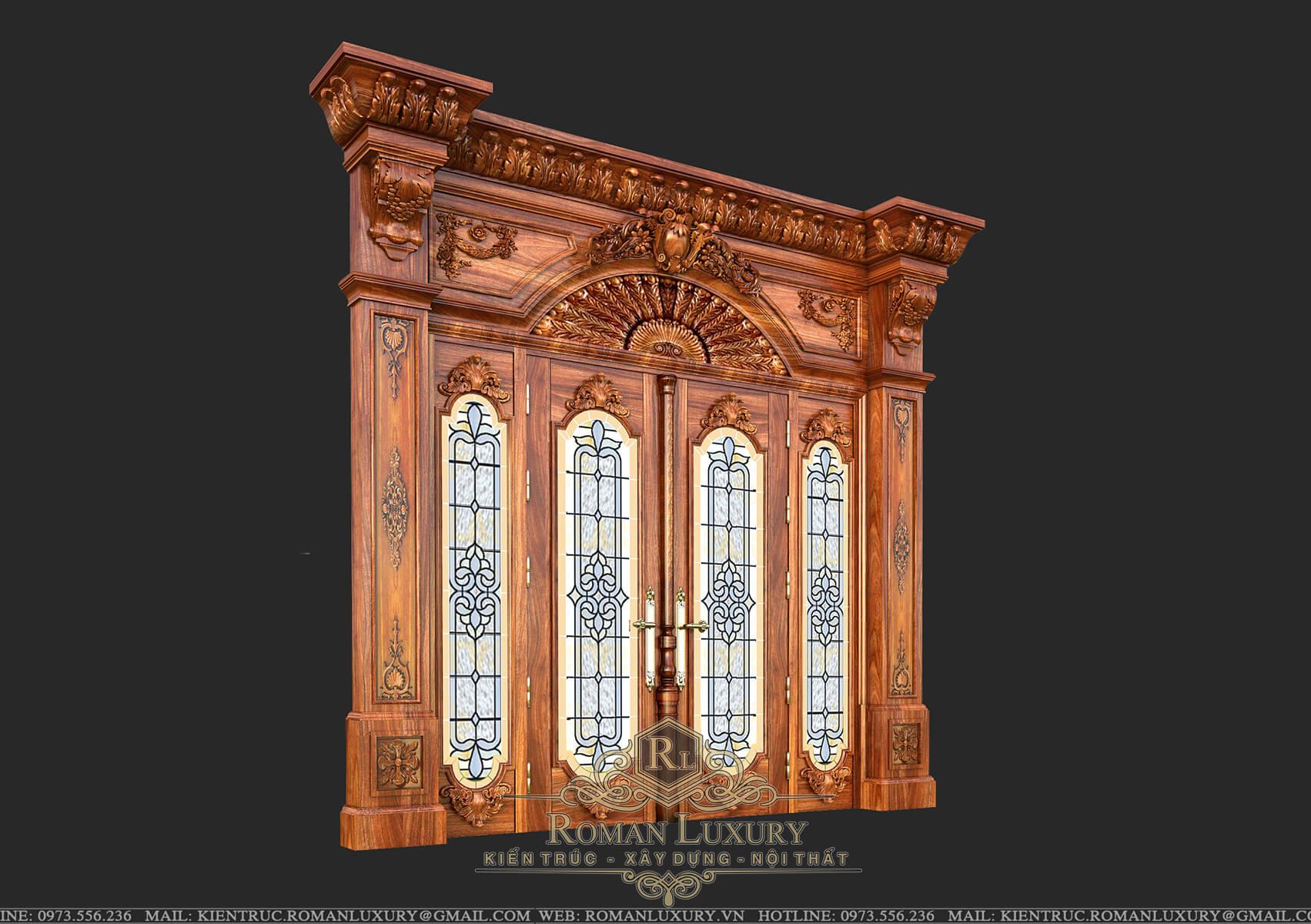 cửa gỗ biệt thự tân cổ điển châu âu