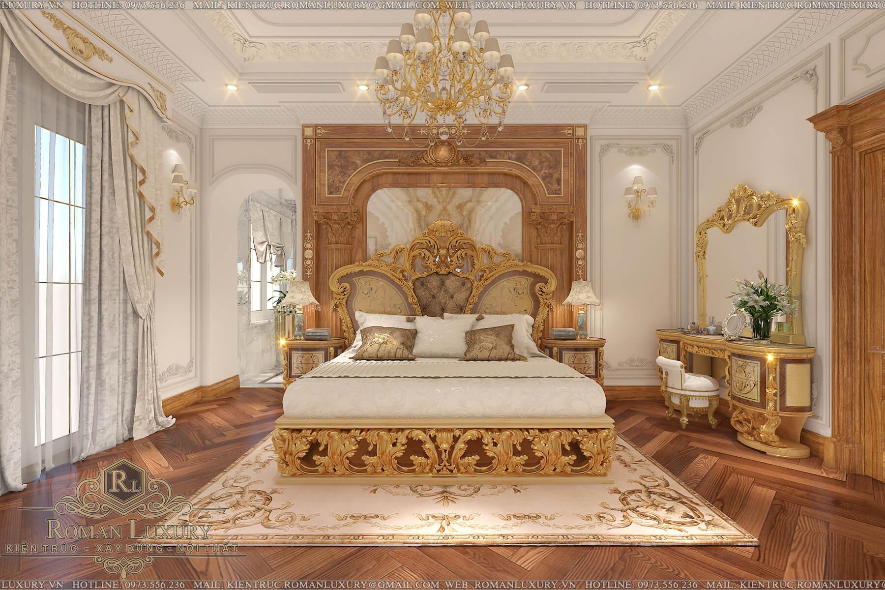 phòng ngủ biệt thự tân cổ điển châu âu