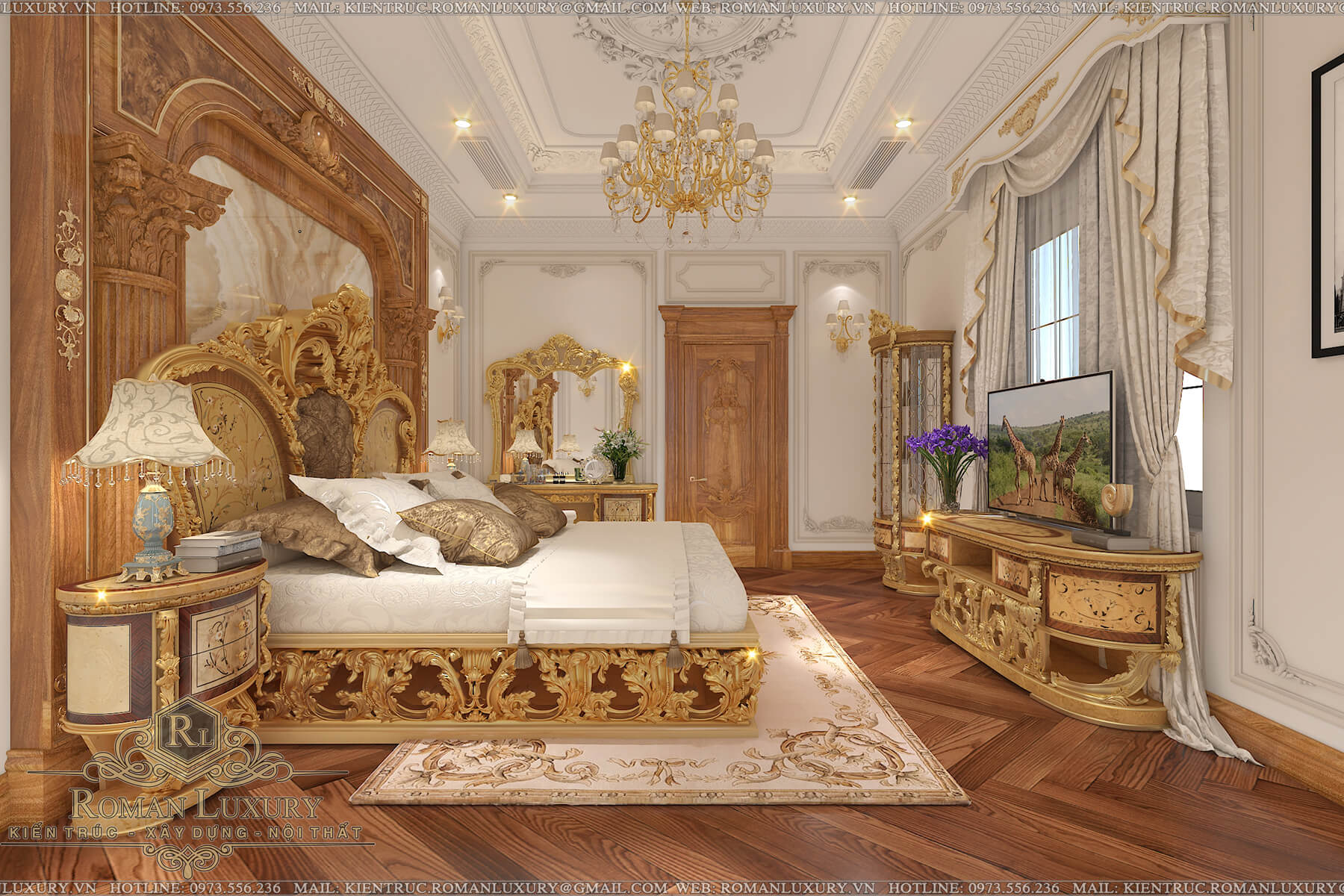 phòng ngủ biệt thự tân cổ điển châu âu 9