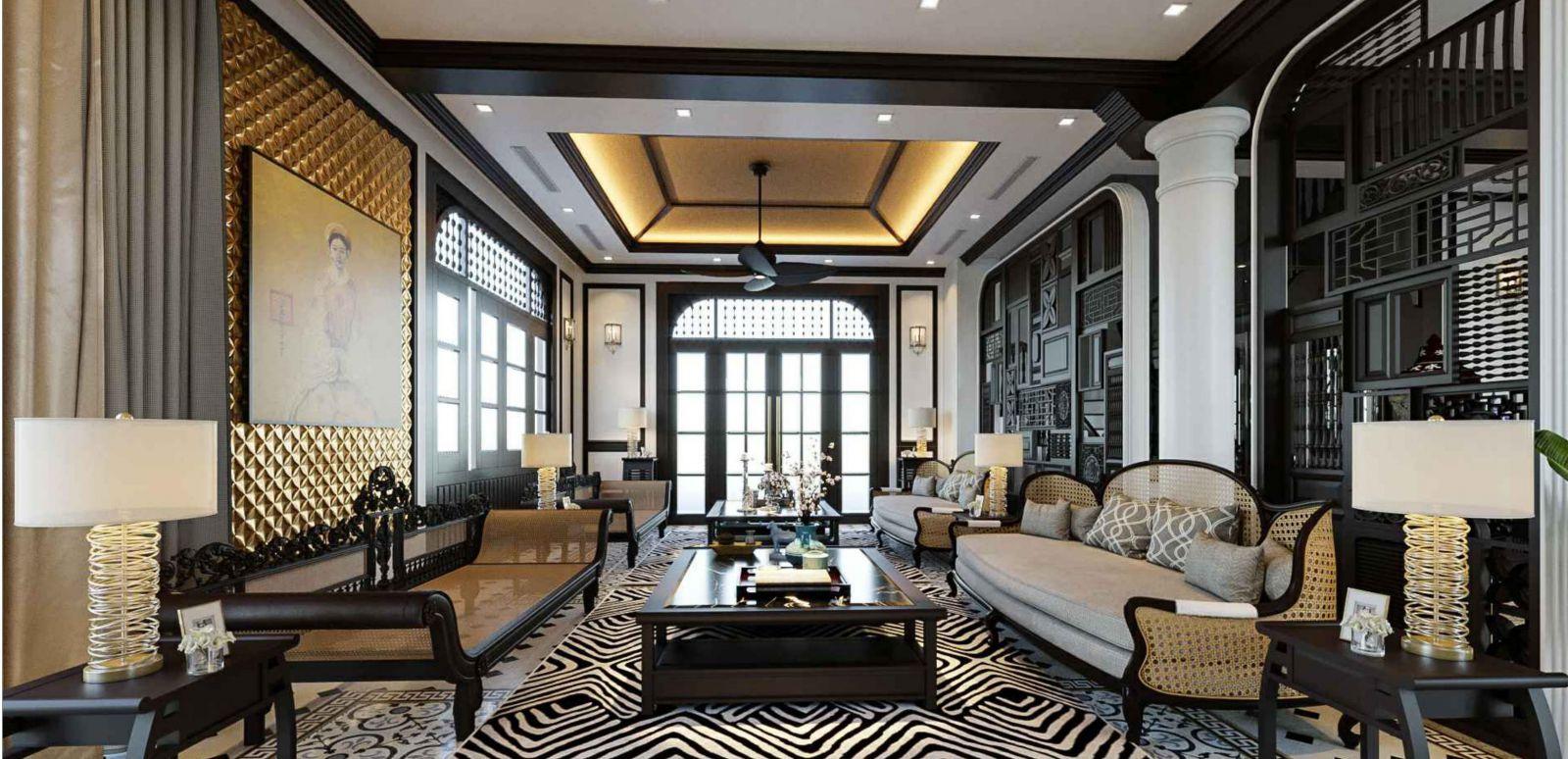 thiết kế nội thất biệt thự phong cách đông dương 2