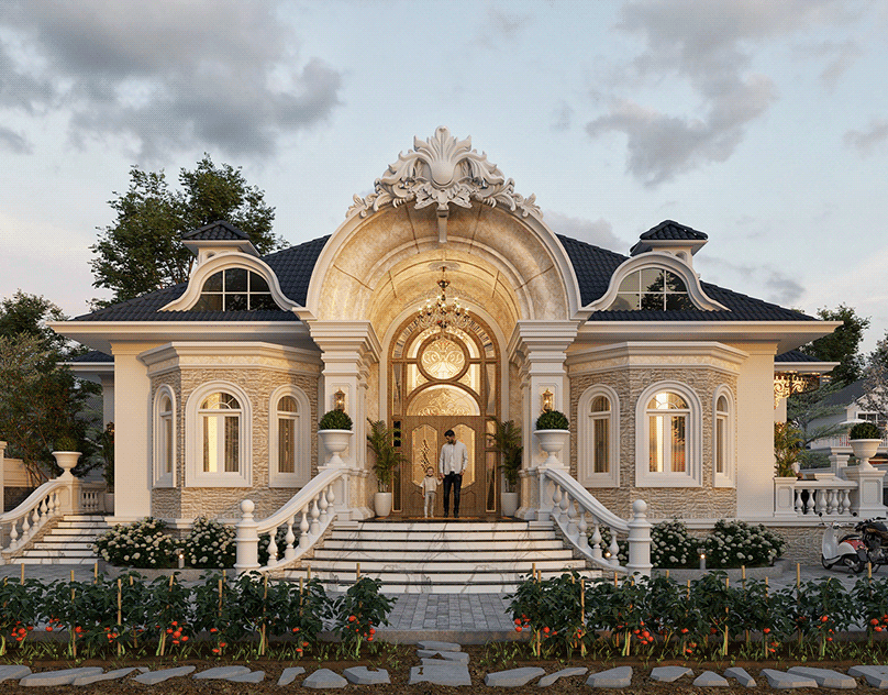 Ngắm nhìn mẫu biệt thự 1 tầng đẹp mái thái và có vườn theo kiểu tân cổ điển