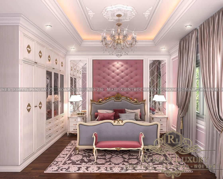 phòng ngủ con gái nhà phố đẹp 3 tầng 4