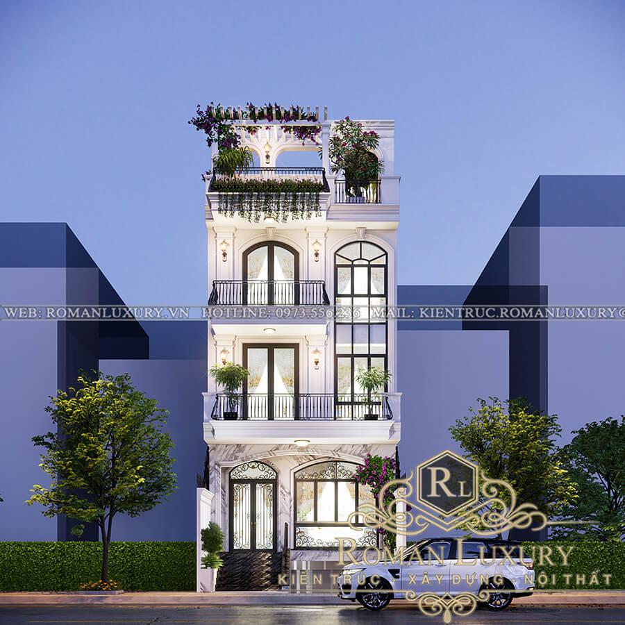 thiết kế nhà phố 4 tầng có thang máy 1