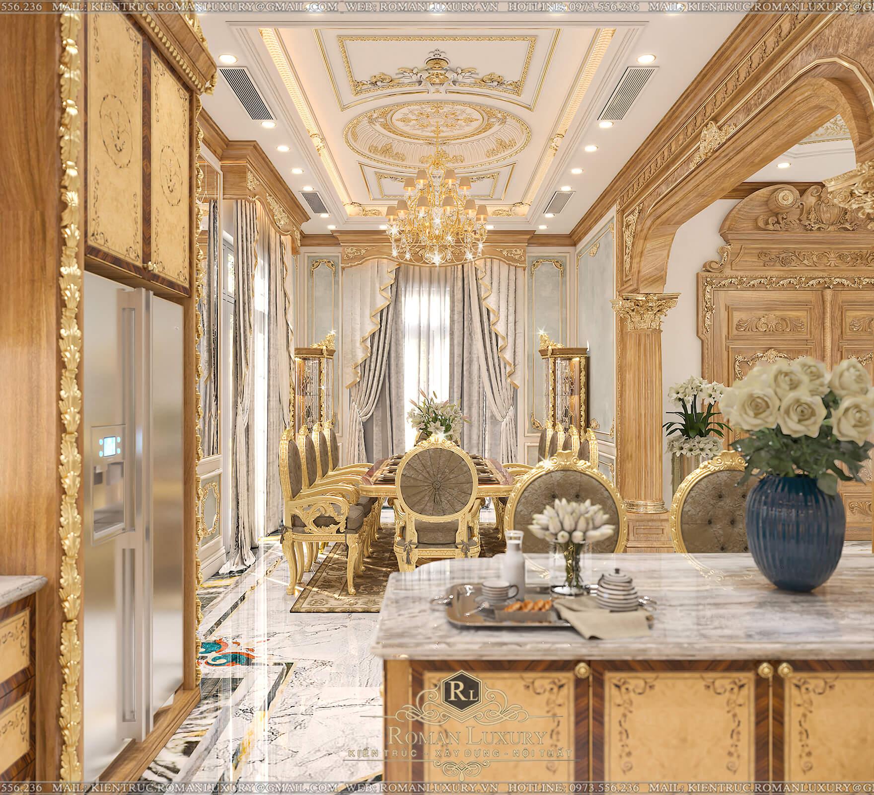 bếp và phòng ăn biệt thự có tầng hầm