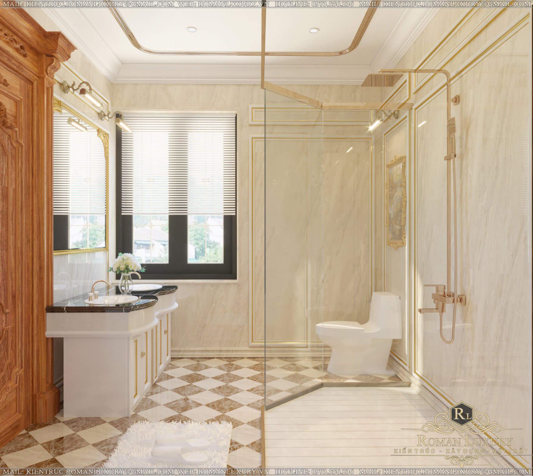 phòng tắm biệt thự có tầng hầm