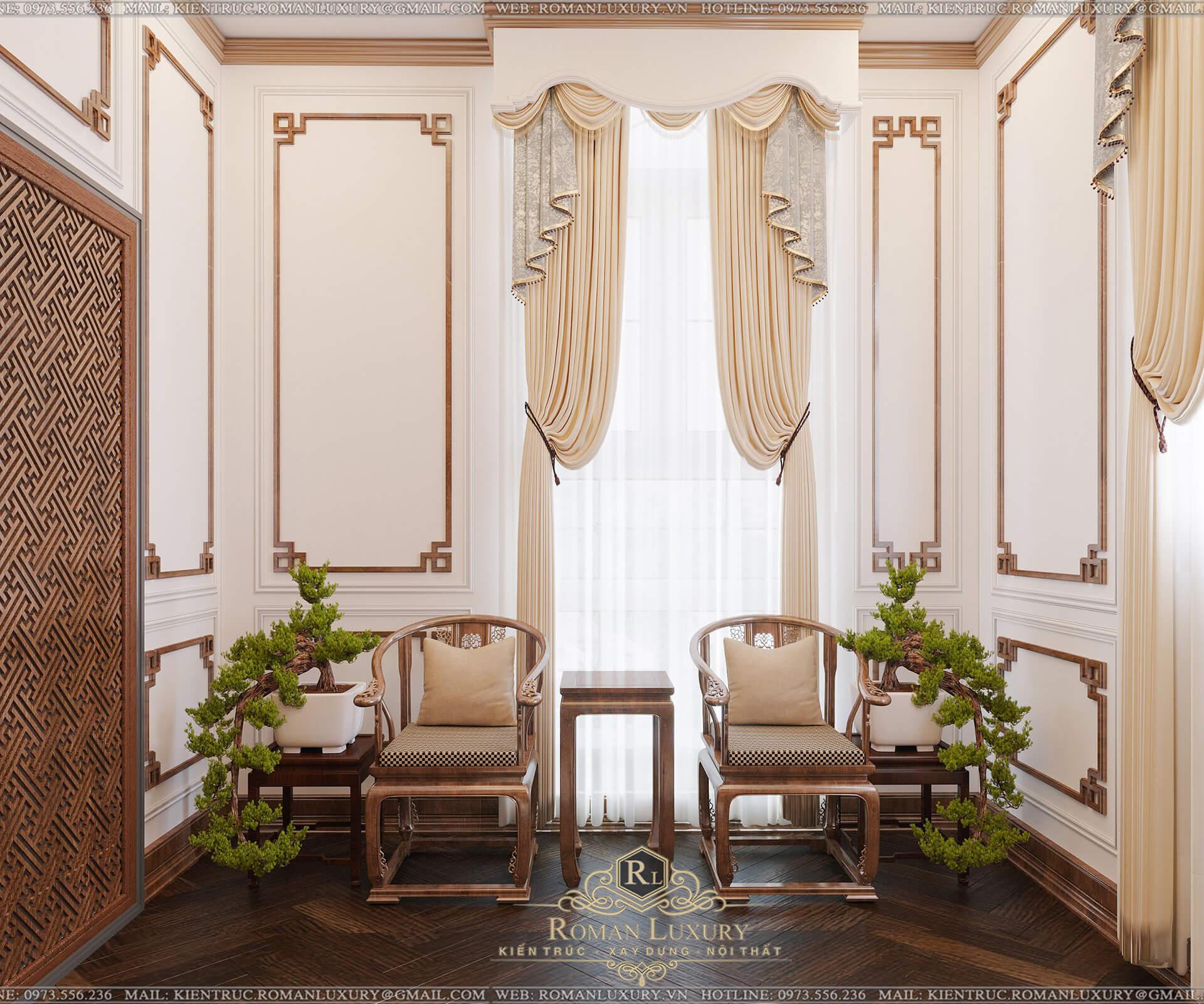 phòng thờ biệt thự có tầng hầm