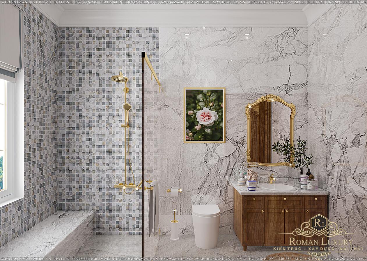 phòng tắm biệt thự 9x14 3 tầng tân cổ điển