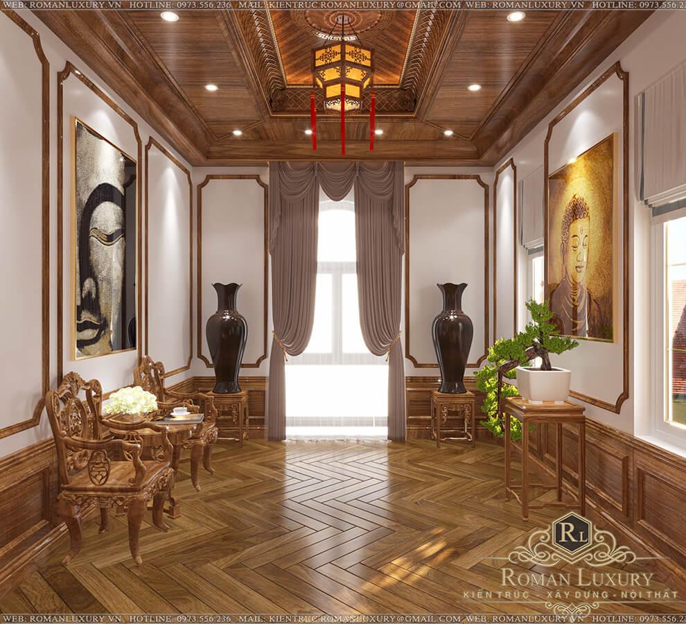 phòng thờ biệt thự 9x15 3 tầng tân cổ điển