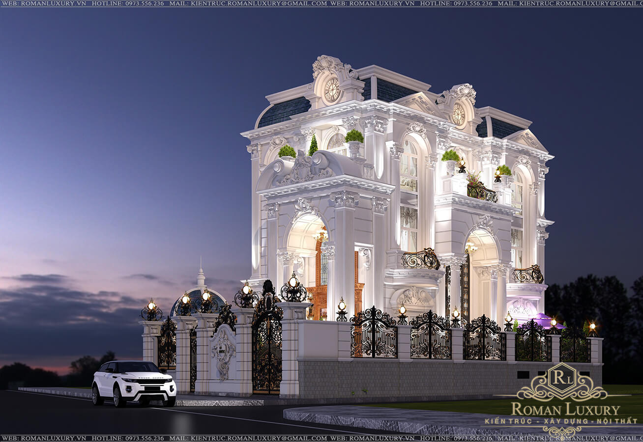 mặt tiền biệt thự 9x15m 3 tầng tân cổ điển đẹp