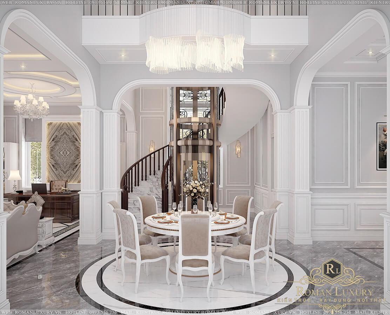 phòng ăn biệt thự 9x15m 3 tầng tân cổ điển