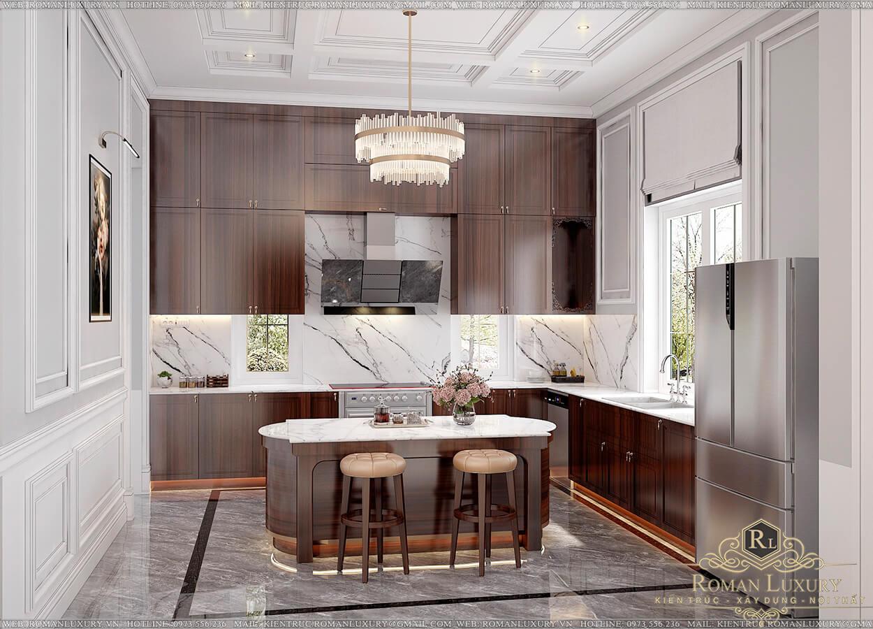 nhà bếp biệt thự 9x15m 3 tầng tân cổ điển