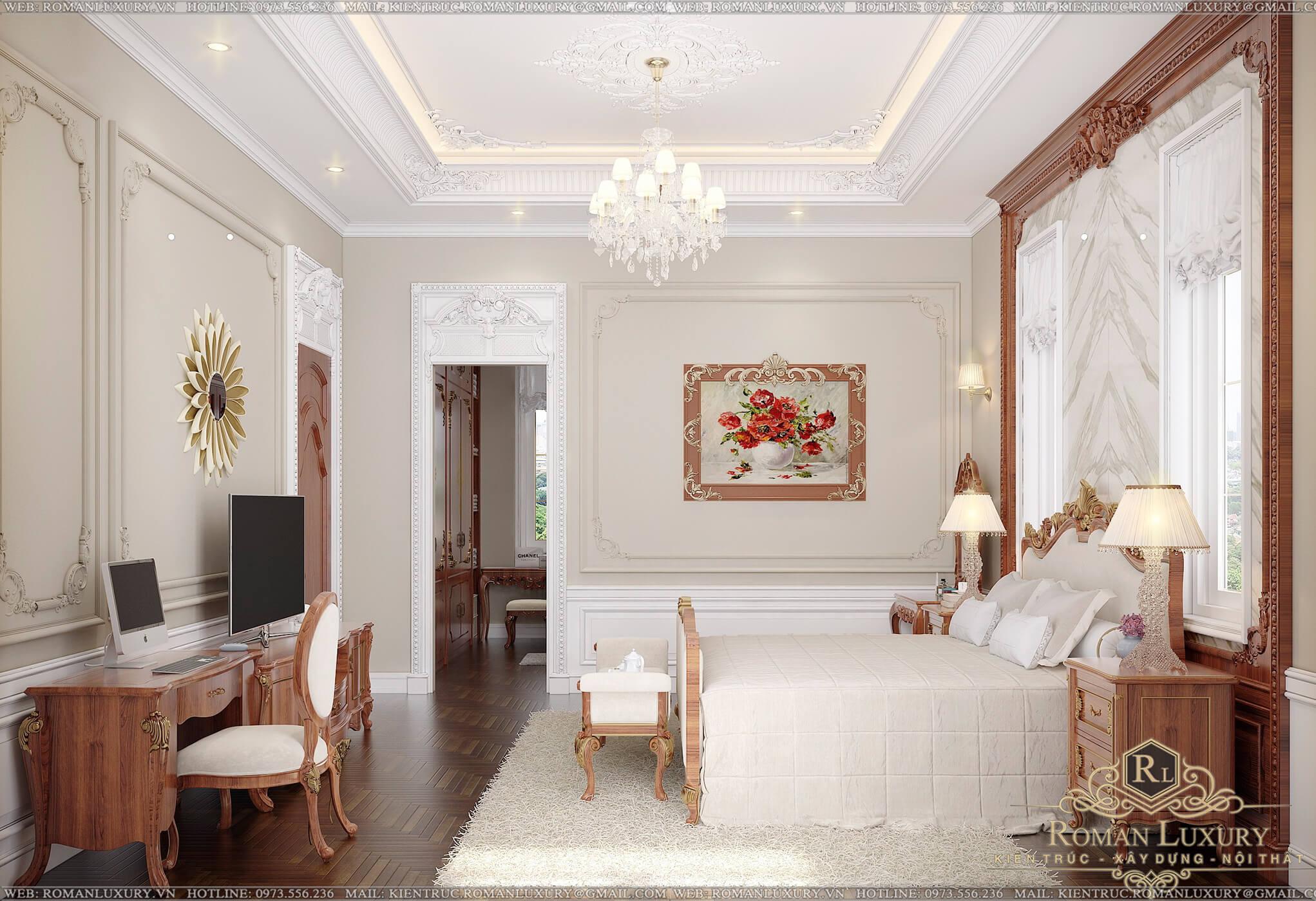 phòng ngủ biệt thự 9x15m 3 tầng tân cổ điển