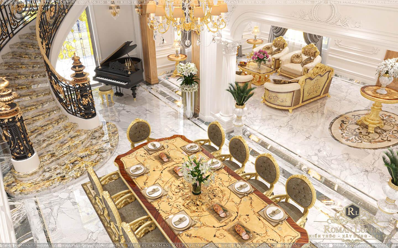 phòng khách biệt thự 2 tầng mái thái