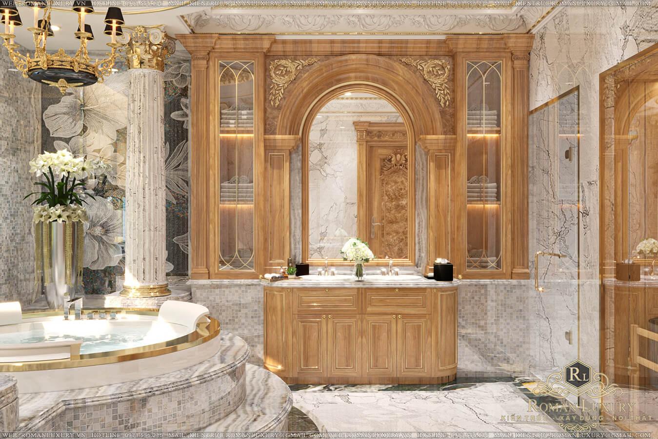 phòng tắm tầng trệt biệt thự vườn 2 tầng mái thái
