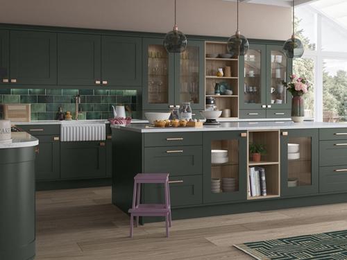 tủ bếp tân cổ điển màu xanh đẹp