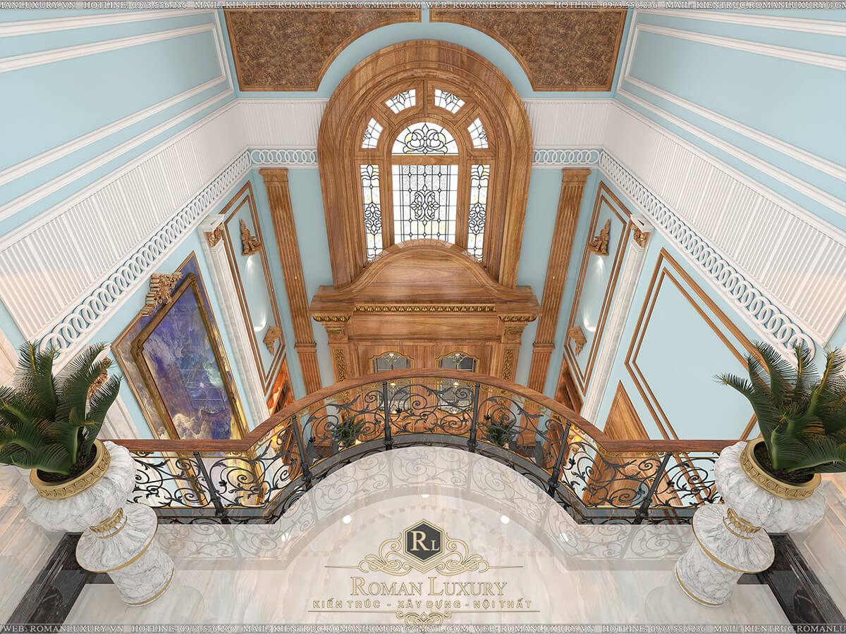 sảnh tầng biệt thự 4 tầng tân cổ điển