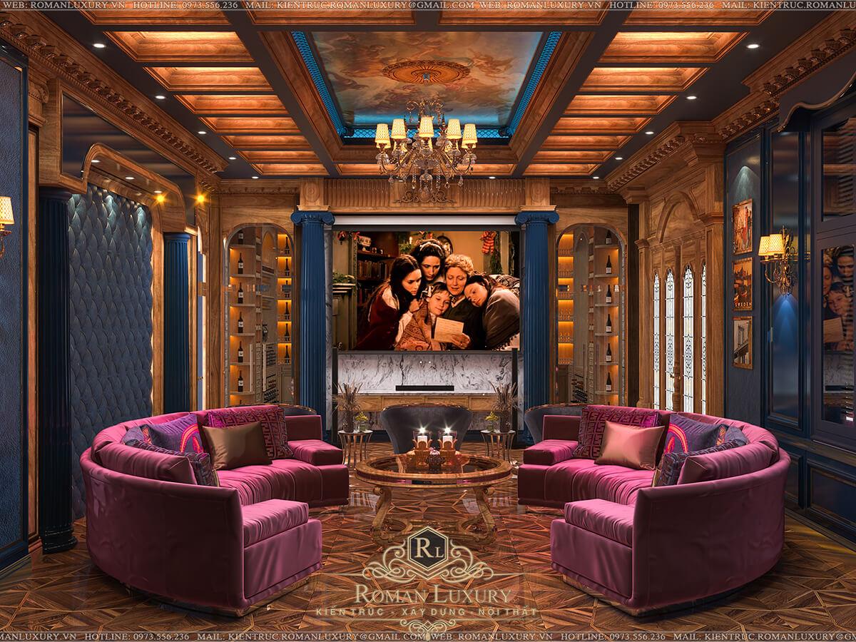 phòng xem phim biệt thự 4 tầng tân cổ điển