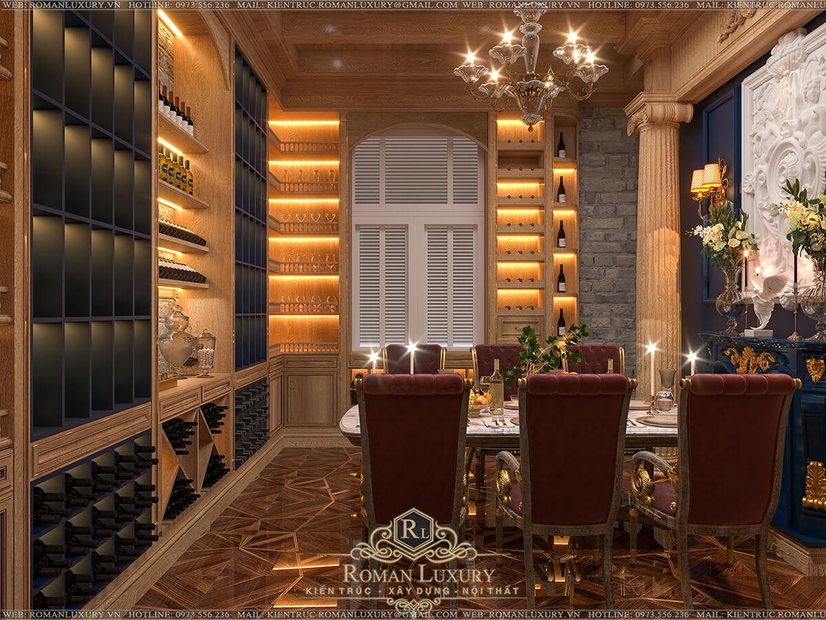 phòng rượu biệt thự 4 tầng tân cổ điển