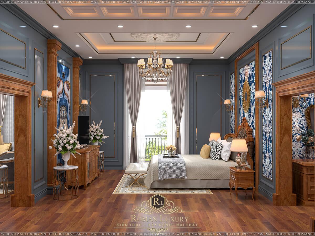 phòng ngủ biệt thự 4 tầng tân cổ điển