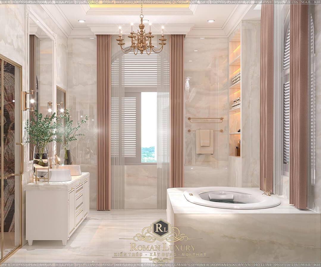 phòng tắm biệt thự 4 tầng tân cổ điển