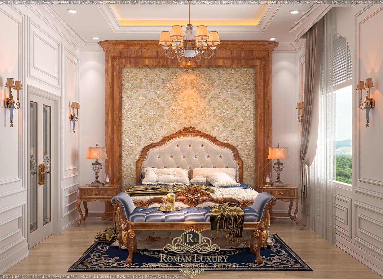 phòng ngủ biệt thự 4 tầng tân điển