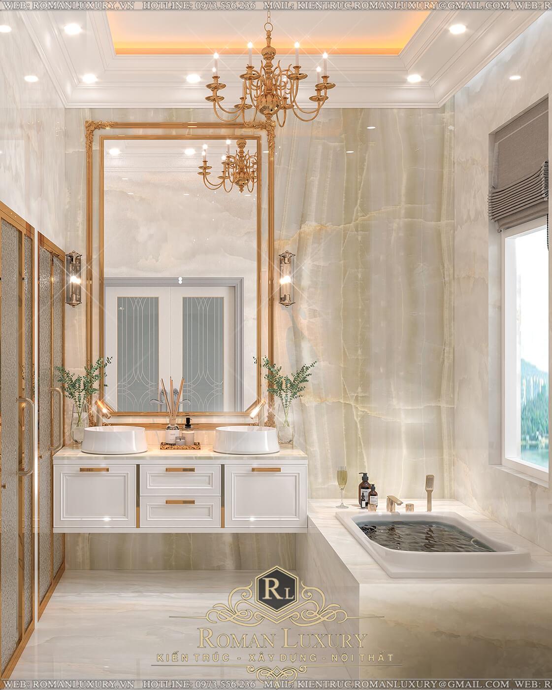 phòng tắm biệt thự 4 tầng tân điển