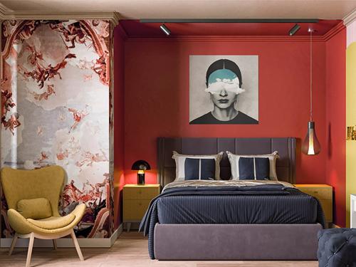 phòng ngủ mà đỏ đẹp