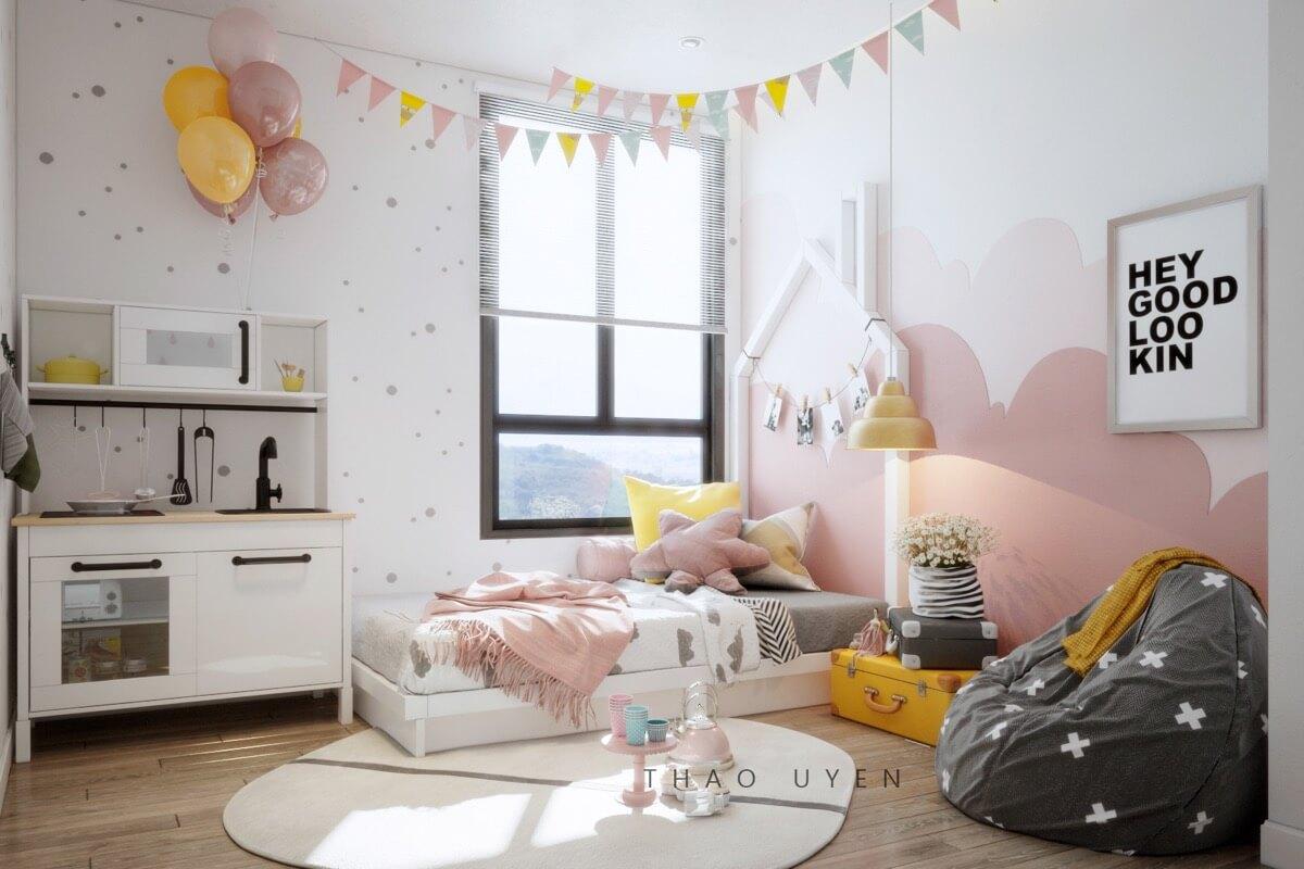 thiết kế nội thất phòng ngủ màu hồng 37