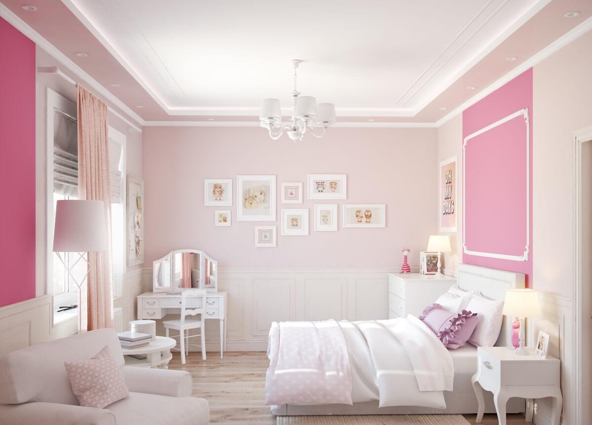 thiết kế nội thất phòng ngủ màu hồng 38