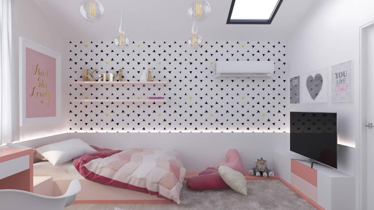 thiết kế nội thất phòng ngủ màu hồng 39