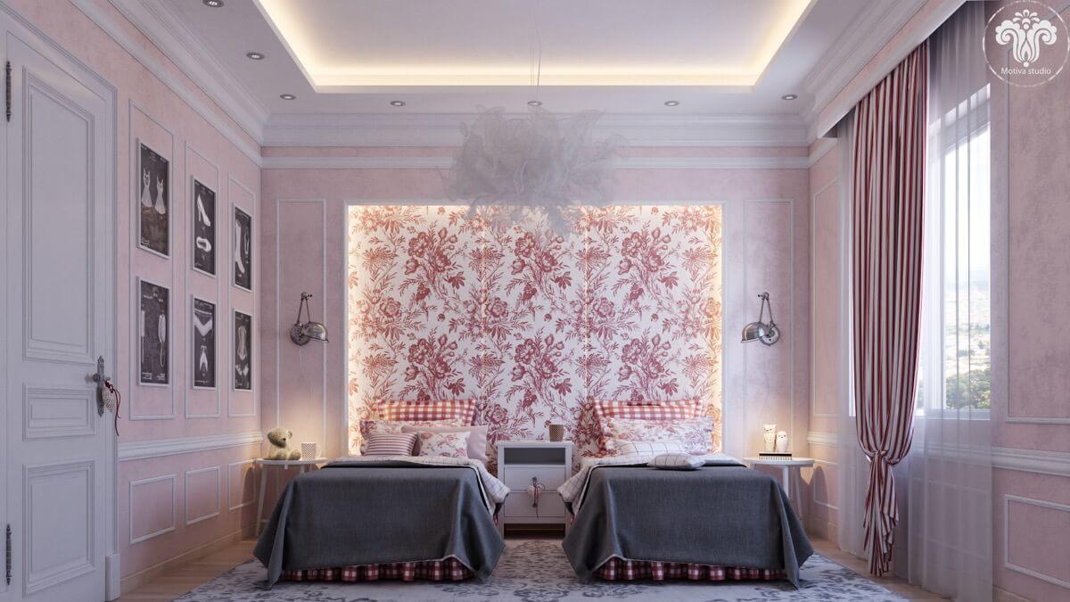 thiết kế nội thất phòng ngủ màu hồng 40