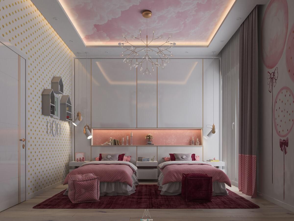 thiết kế nội thất phòng ngủ màu hồng 41